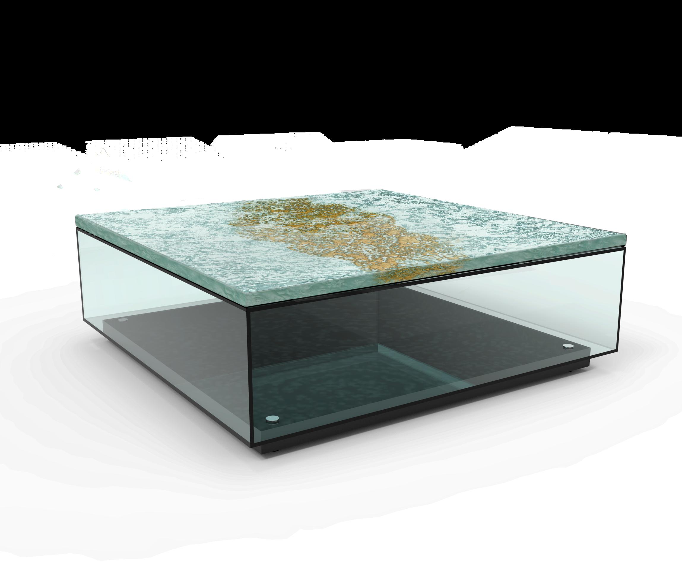 Modne ubrania Stolik kawowy Aquarius ze szkła artystycznego 3D 24 mm Baranska Glass TE51